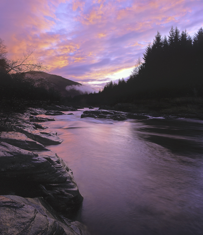 River Orchy Twilight, Glen Orchy, Highlands, Scotland, gorgeous, sky, river, pink, reflection, drops, melted, sculpted  photo