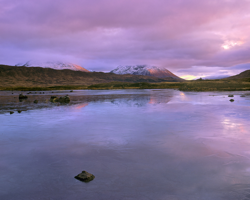 Rouge Loch Ba, Loch Ba, Rannoch Moor, Scotland, autumnal, sunset, blood red, mountains, frozen, loch, peak,  photo