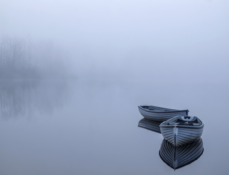 Rusky Blues 2, Loch Rusky, Trossachs, Scotland, two, pale blue, wooden, row boats, angling, calm, mirror, reflections, t photo