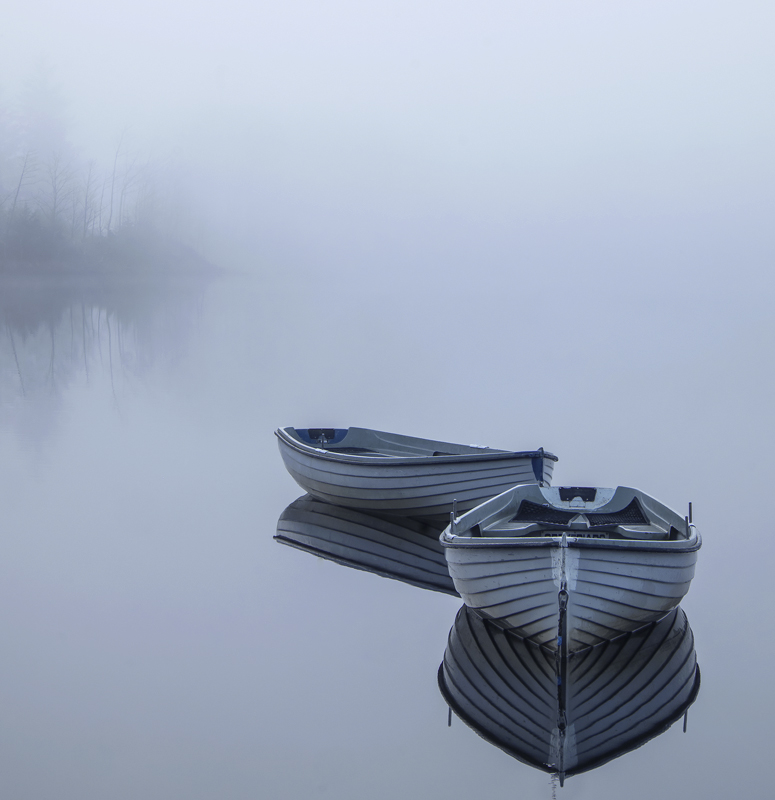 Rusky Blues, Loch Rusky, Trossachs, Scotland, beguiling, contrast, softest, blue, boats, dawn, light  photo