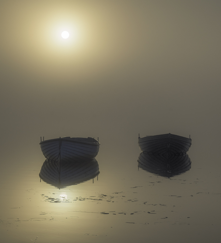 Rusky Gold 2, Loch Rusky, Trossachs, Scotland, pair, pale blue, rowing boats, wood, serenely, mirror, sun, mist, hull, e, photo