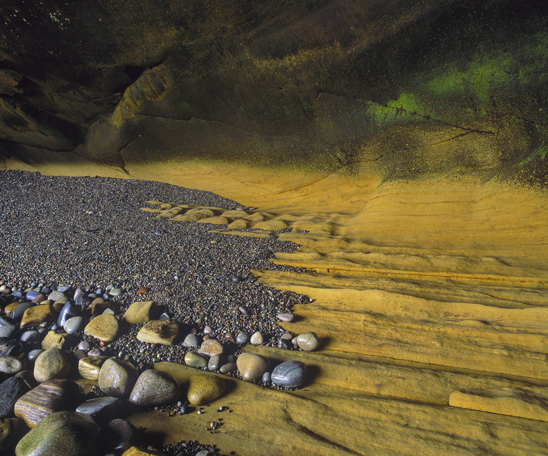 Sandstone Shelf, Cummingston, Moray, Scotland, sea caves, contrast, low tide, vacate, treasures, colourful, geological,  photo