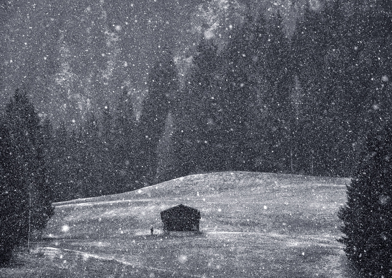 Bleak, Alpbach, Austria, Europe, snow, windless, hut, field, lone, figure, darkness, sinister, snowflakes, mono, atmosph photo