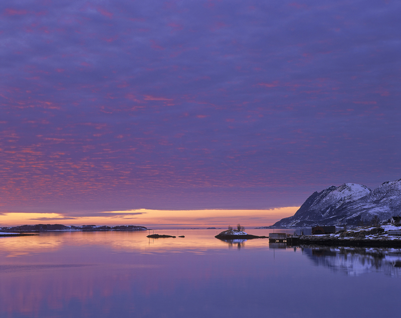 Senja Gloaming, Straumsnes, Senja, Norway, sun, reflection, stunning, flecked, crimson, unearthly, arctic, mountains, su photo