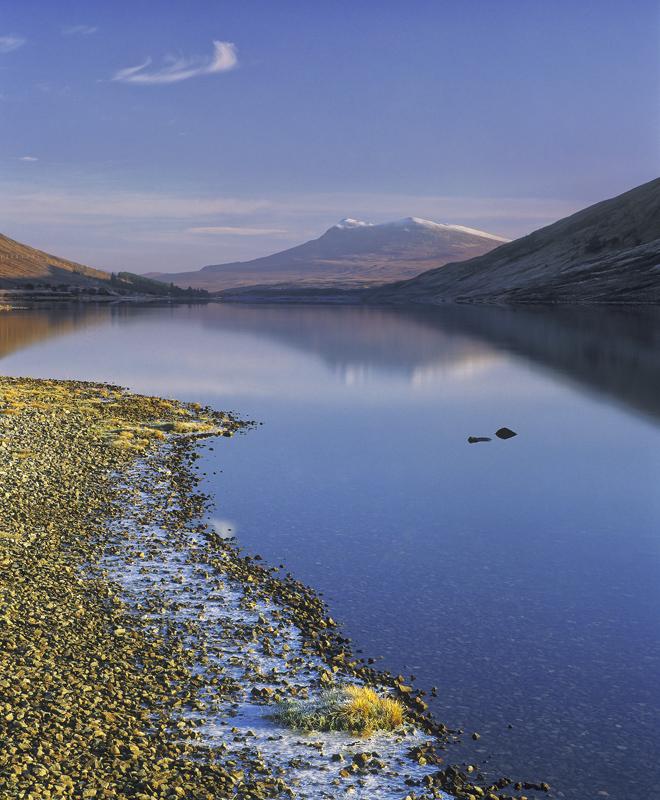 Serene Loch a Chroisg, Loch a Chroisg, Achnasheen, Scotland, lemon, light, pebbles, gold, nuggets, blue, reflected, text photo