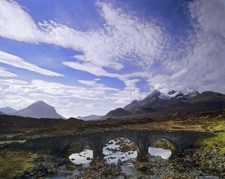Skye Sky, Sligachan, Skye, Scotland, perfect, April, sky, Black Cuillin, ridge, triple, pack bridge, bridge, river, span photo