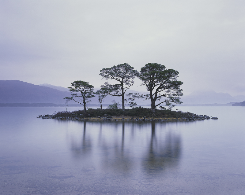 Slattadale Island, Slattadale, Torridon, Scotland, cold, dreary, understated, soft, light, island, trees, reflection, Sl photo