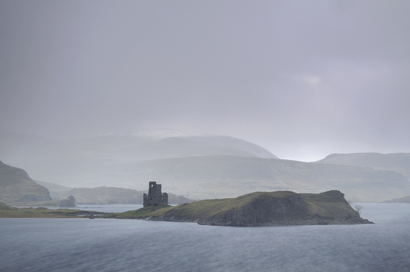 Sleet Ardvreck Castle, Loch Assynt, Assynt, Scotland, bleaker, outlook, cold, winter, thrilling, snow, storm, motive, mo photo