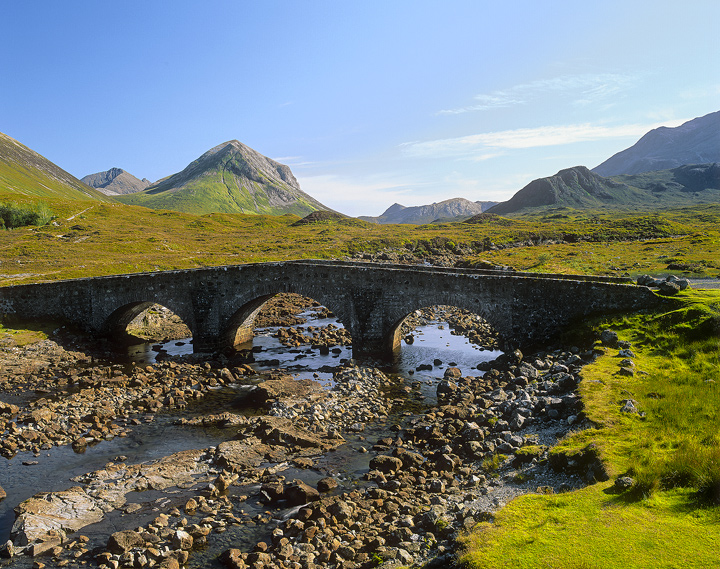 Sligachan View, Sligachan, Skye, Scotland, triple, bridge, spans, lure, Black Cuillin, ridge, Marsco, blue, sky summer,  photo