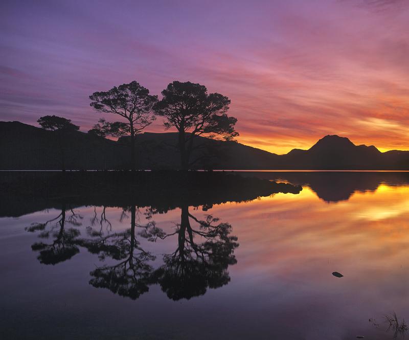 Slioch Sunrise, Slattadale, Torridon, Scotland, pre-dawn, colourful, trees, silhouetted, beautiful, reflected, sky photo