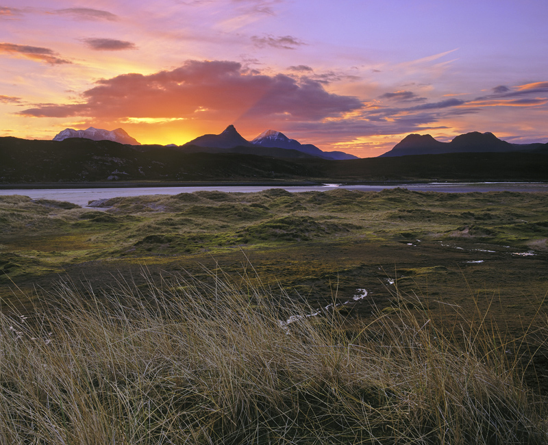 Spectacular Skyline, Achnahaird Bay, Inverpolly, Scotland, spectacular, sunrise, matured, crespecular rays, diverging    photo
