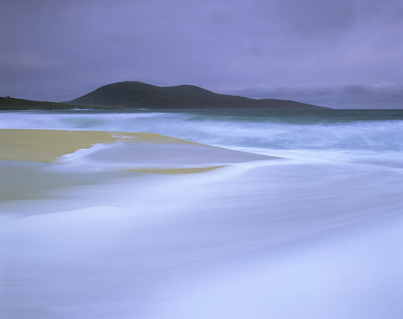 Spun Silk Traigh Mhor, Traigh Mhor, Harris, Scotland, orange, sand, beach, coarse grained, pure, spume, storm, swell, su photo