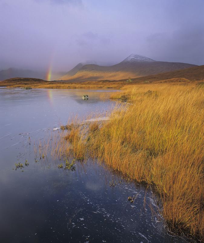 Stainge Rainbow, Loch Na Stainge, Highlands, Scotland, autumn, colour, soft, ambient, rain, rainbow, orange, deer grass, photo
