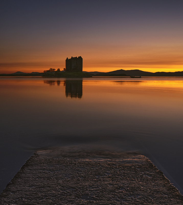 Stalker Gloaming, Appin, Argyll, Scotland, hour, sunset, evening, smooth, colour, steely blue, tangerine, gradient, refl photo