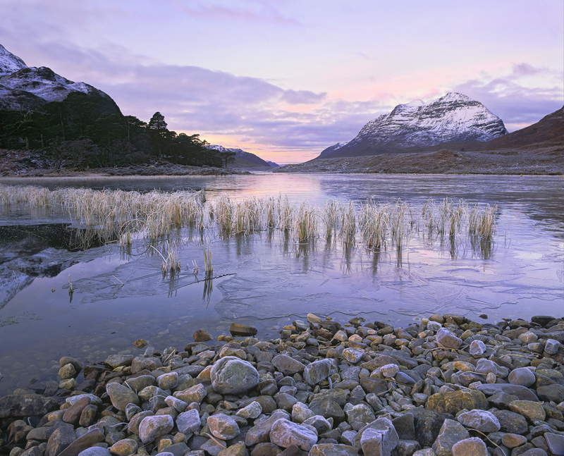 Stone Cold Clair, Loch Clair, Torridon, Scotland, cold, frosty, sun, ice, sub-zero, hoar frost, reeds, reflection, Liath photo