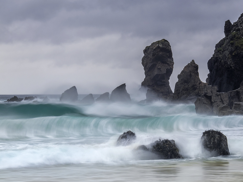Storm Surge Dail Mhor, Dail Mhor, Lewis, Scotland, sandy, bay, rock stacks, beach, storm, turquoise, exploding, breeze,  photo