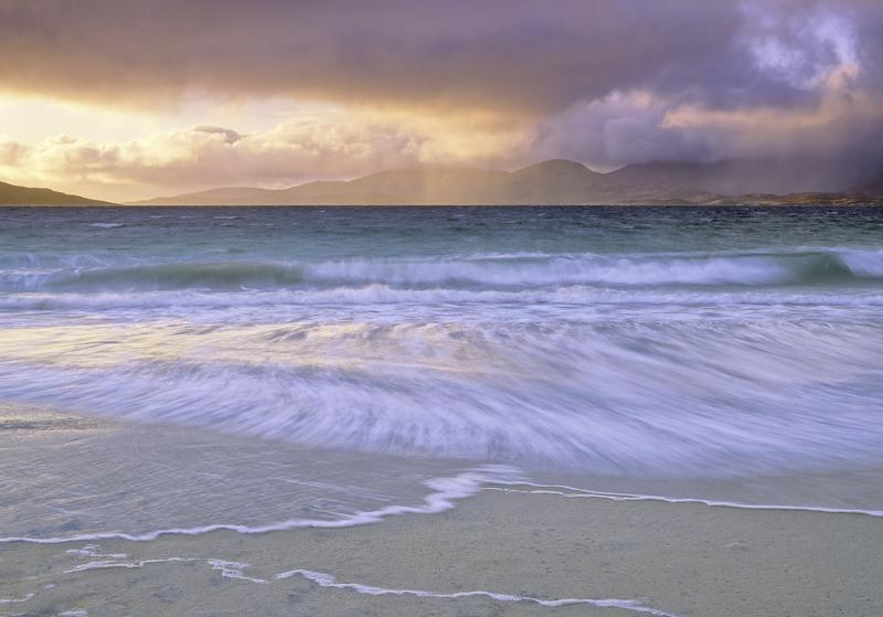 Storm Surge Rosamol, Traigh Rosamol, Harris, Scotland, colourful, sunrise, squally, shower, deluge, Harris, peaks, Atlan photo