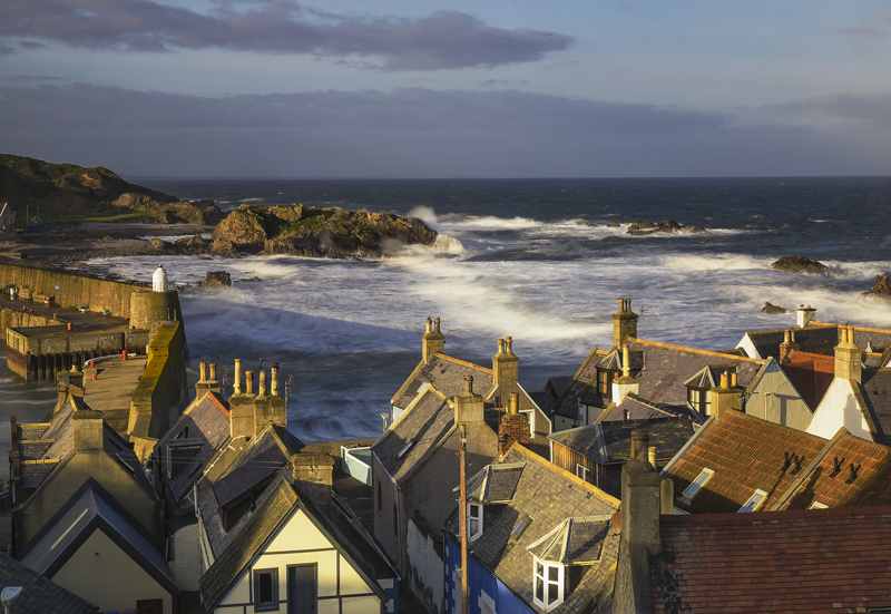 Stormy Seas Findochty, Findochty, Moray, Scotland, lovely, winter, morning, gable ended, houses, roof tops, harbour, sun photo