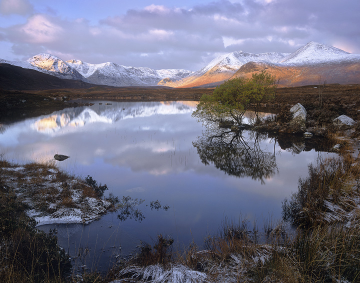 Rannoch Sublime, Rannoch Moor, Glencoe, Scotland, sunrise, morning, Blackmount, sunlight, summits, frosted, reflection photo
