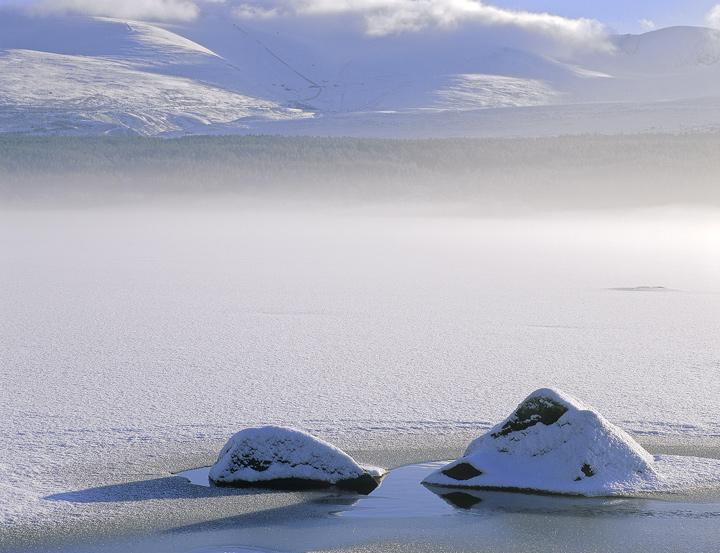 Sugar Dusted, Loch Morlich, Cairngorm, Scotland, mist, ice, plate, glittering, sparkle, ethereally, mountains, brillianc photo