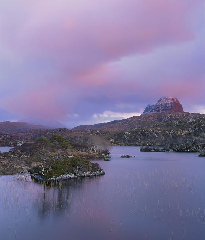 Suilven In Pink, Loch Druim Suardalain, Assynt, Scotland, mesmerisingly, beautiful, pink, twilight, blue, mountain, peak photo