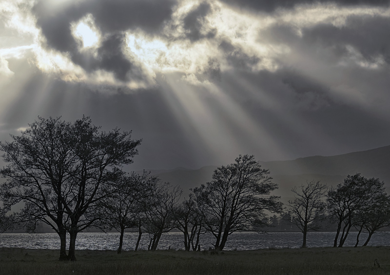 Summoning The Dark Lord, Loch Tulla, Glencoe, Scotland, breaking, epic, light, sunlight, shafts, cloud, Harry Potter, photo
