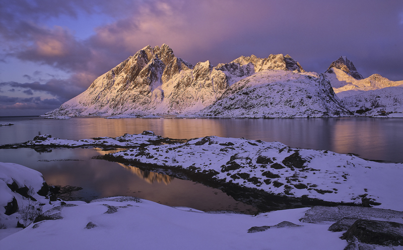 Sund Rouge, Sund, Lofoten, Norway, bay, sunrise, awesome, rosy, red, violet, blues, twilight, optimum, colour, snow, ref photo
