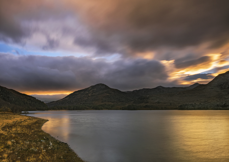 Sundowner Loch Clair, Loch Clair, Torridon, Scotland, evening, light, estate, blue, sky, grey, golden, sunlight, reflect photo