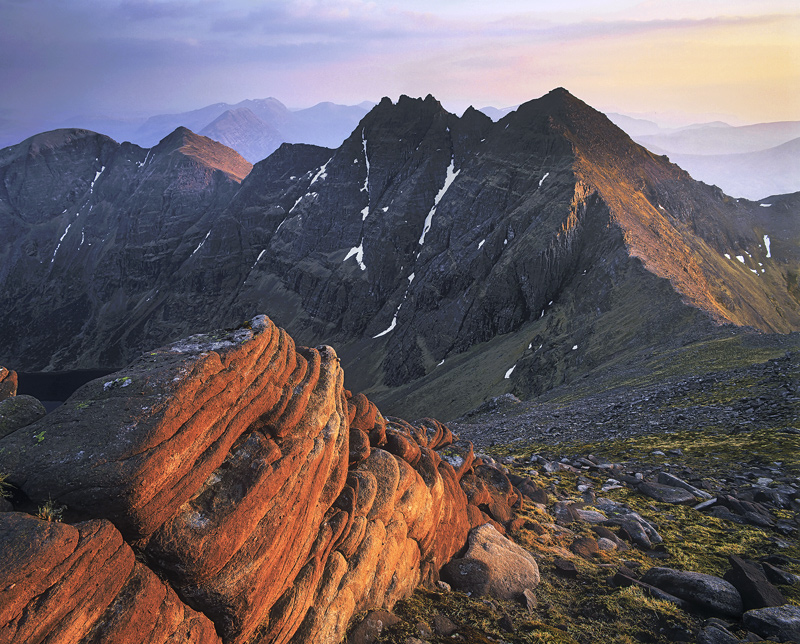 Sunset An Teallach, An Teallach, Dundonnell, Scotland, breathtaking, ridge, summit, climb, staggering, sun, red, blood photo