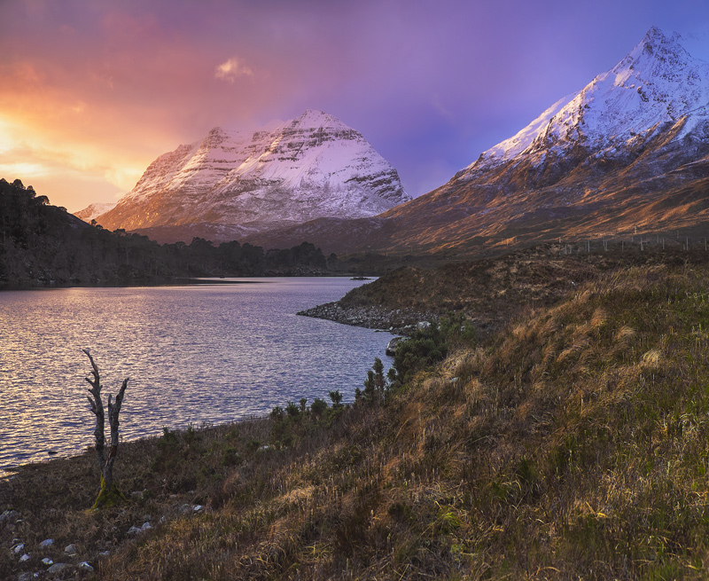 Sunset Clair, Loch Clair, Torridon, Scotland, viewpoint, winter, sunset, filtration, glow, snow capped, scarlet, gold,  photo