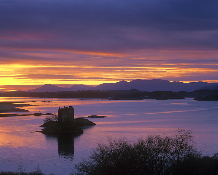 Sunset Over Stalker, Castle Stalker, Argyl & Bute, Scotland, winter, sunset, castle  photo