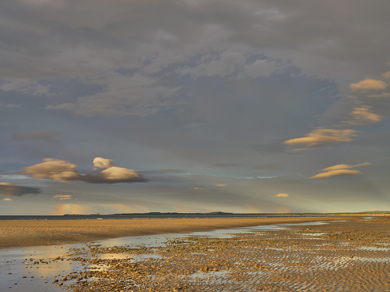 Sunset Rainbow Findhorn, Findhorn, Moray, Scotland, horizon, rainbow, segmented, amber, sun, Burghead, arc, crepuscular  photo