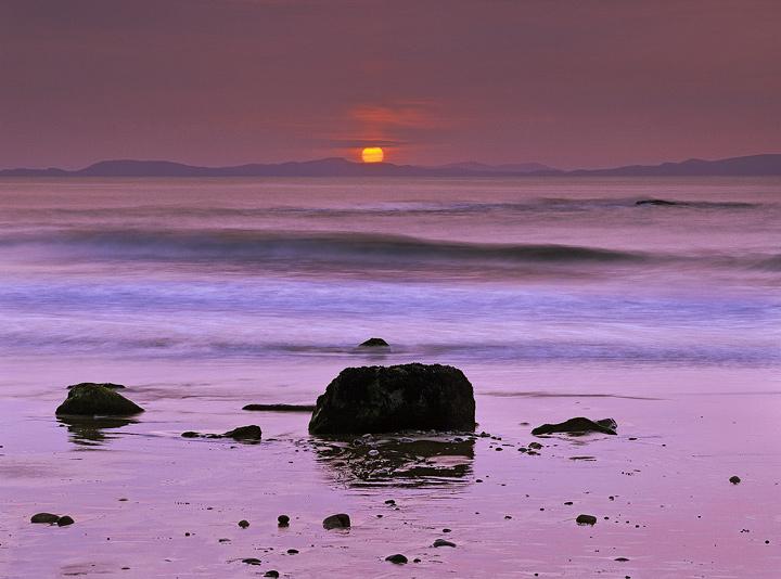 Tangerine In Pink, Hopeman, Moray, Scotland, ball, sunset, sinks, tranquil, Firth, sky, pink, reflecting, wet, sand, wav photo