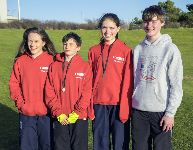 Team Forres from Forres Academy represented left to right by Lauren Cameron (B) age group, Ben Cameron (D) age group, Anna MacFadyen...