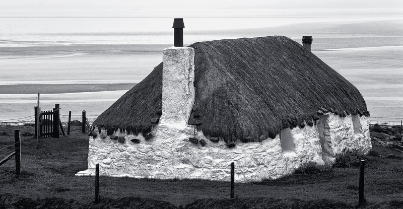 Thatch Uist, Malacleit, N. Uist, Scotland, little, thatched, cottage, north uist, evening, low tide, patterns, textures, photo