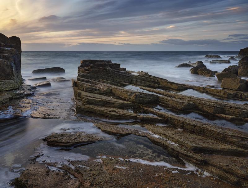 Tidal Flow Hopeman, Hopeman, Moray, Scotland, horizon, evening, reflected, illuminated, sky, clouds, colour, pancake, ro photo