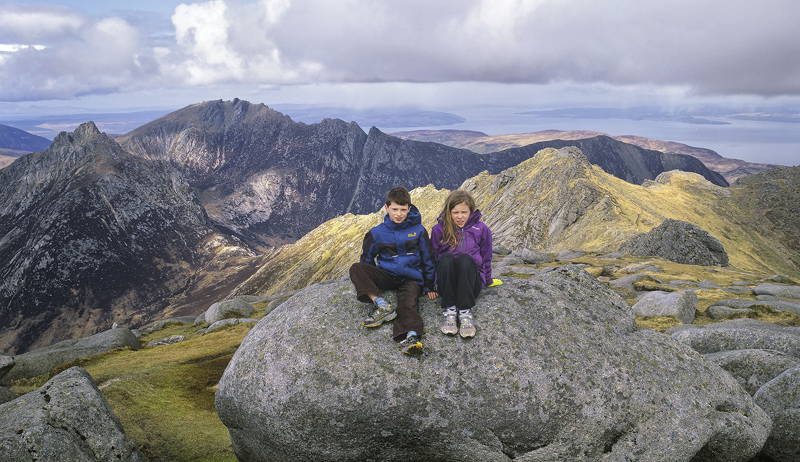 Top of Goat Fell, Goat Fell, Arran, Scotland, summit, Cir Mhor, Ben, Lauren, light, dappled photo