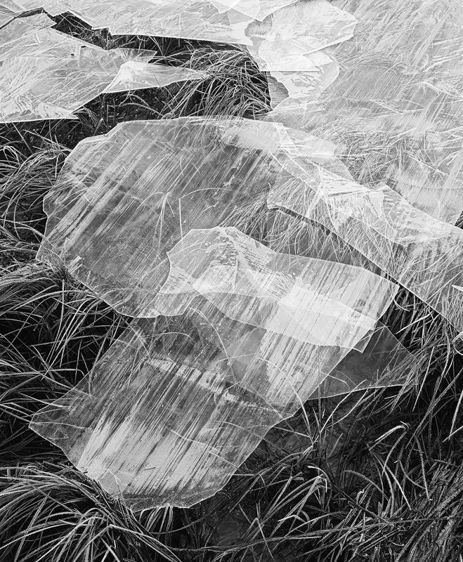 Ice Sheets Mono, Loch Morlich, Aviemore, Scotland, intimate, black and white, texture, tonality, detail photo