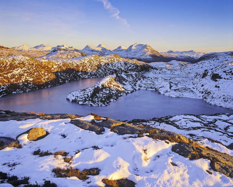 Torridon Tarn, Diabaig, Torridon, Scotland, lochs, lochans, winter, sky, altitude, lofty, view, wilderness, pristine photo