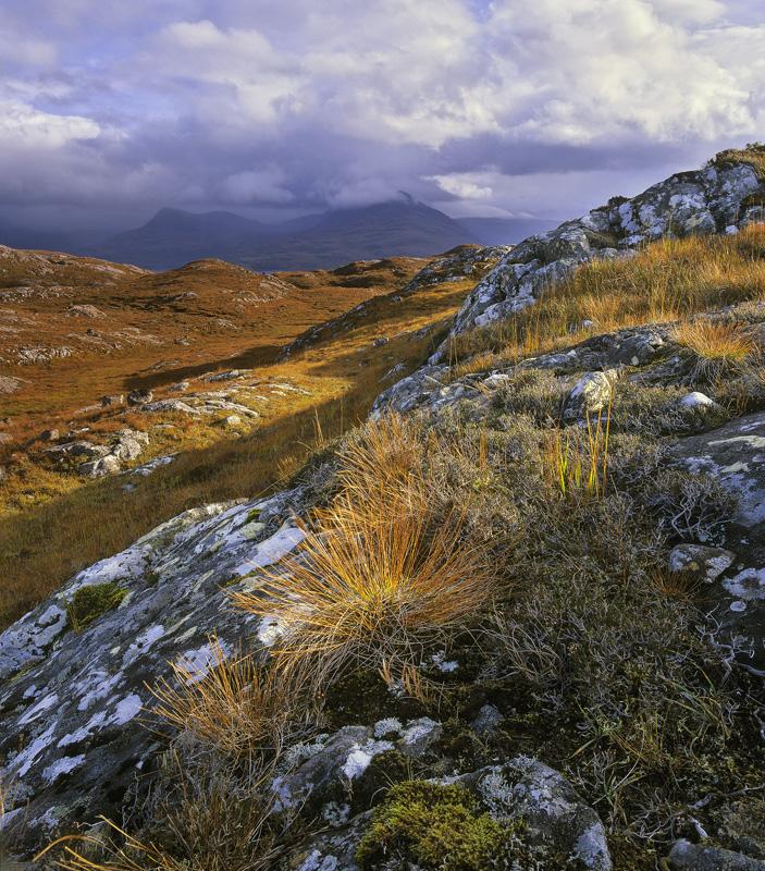 Torridonian Bluff, Diabaig, Torridon, Scotland, autumn, deer grass, fire grass, vivid, red, hillsides, Torridon, hue, cl photo