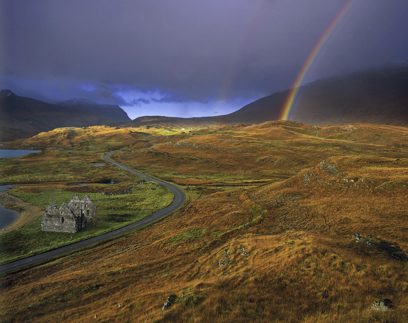 Transient Light Calder House, Loch Assynt, Sutherland, Scotland, dramatic, light, ominous, clouds, rainbows, rain, trans photo