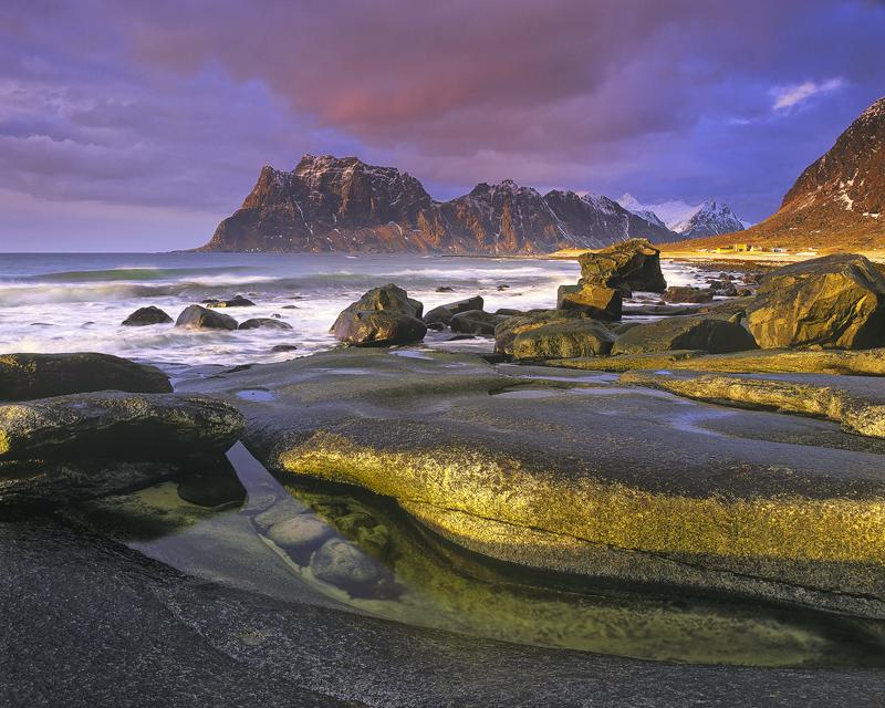 Transient Light Uttakliev, Uttakliev, Lofoten, Norway, magical, cloud, sunset, mountains, red, sunlight, clouds, sculpte photo