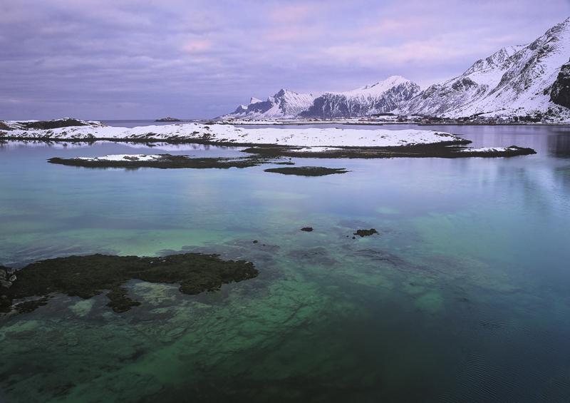Turquoise Lagoon, Selfjord, Lofoten, Norway, irridescent, colour, tidal, lagoon, spectacular, water, lush, palette photo
