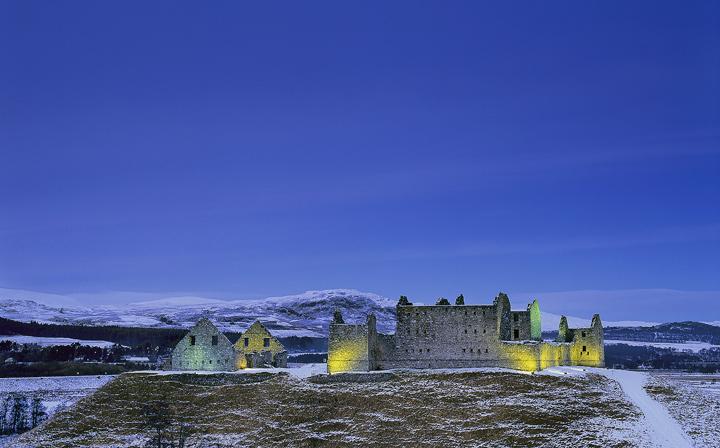 Twilight Ruthven Barracks, Ruthven Barracks, Kingussie, Scotland, cold, winter's, evening, twilight, blue, ambient, arti photo