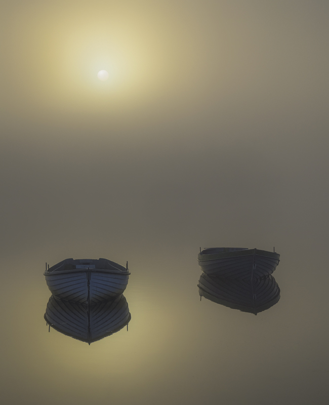 Twin Perfection, Loch Rusky, Trossachs, Scotland, two, pale, wooden, boats, shroud, holy, golden, reverence, sun, orb, m photo