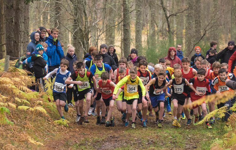 A packed start line in the boys U13 North District Cross Country Championships shows the enthusiastic flailing of arms and limbs...