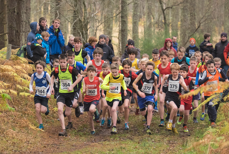 A final shot of the start of the under 13 boys north district championship race, the leading group of Ben Cameron, (Forres Harrier...