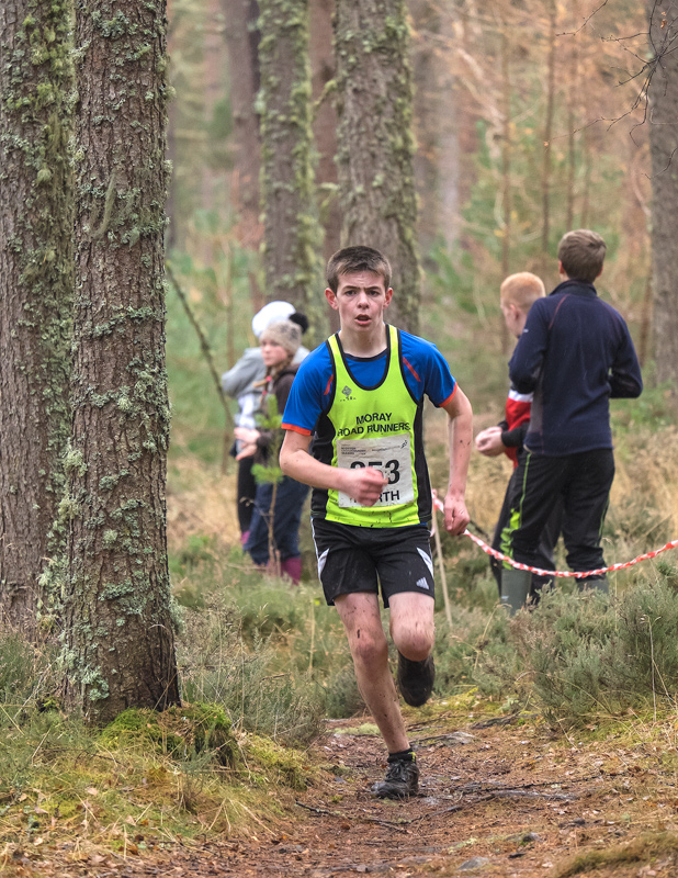Surprise winner of the boys under 13 north district cross country championships Joshua Mine (Moray Roadrunner), secures...