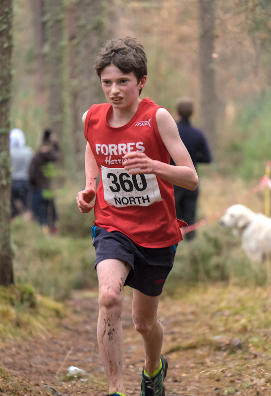 My son Ben (Forres Harriers), emerged from the woodland ascent to finish in second place behind Joshua Milne in the under 13...
