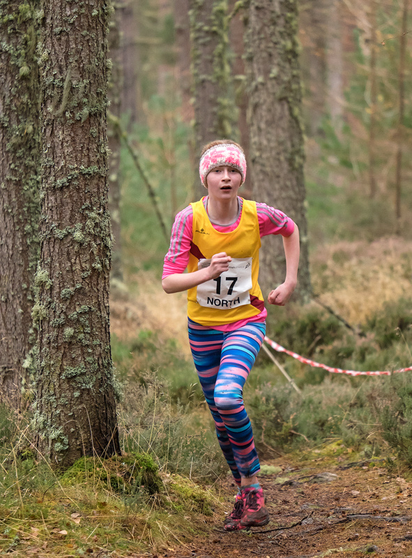 Eve Gardiner (Inverness Harriers), finished in fourth position in the girls under 13 cross country championship race. Though...